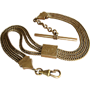 Antique Victorian Triple Gold Filled Albert Ornate Slide Pocket Watch Chain
