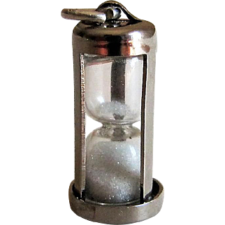 Vintage Sterling Silver Movable Sand Timer Hourglass Charm. P & A.
