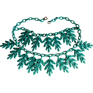 Fabulous Celluloid Double Strand Green Leaf Necklace.