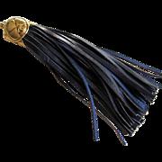 Authentic Vintage Chanel Navy Blue Leather and Goldtone Handbag Tassel.