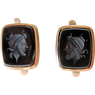 Victorian Gold Filled Black Onyx Neoclassical Cufflinks Dated 1884.