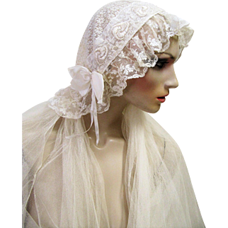 1920s Wedding Juliet Lace Bridal Cap and Three Tiered Veil.