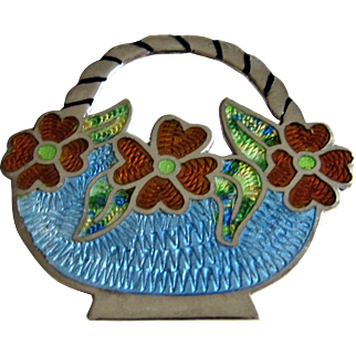 Jeronimo Fuentes Sterling Silver & Guilloche Basket Of Flowers Brooch-Mexico