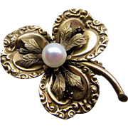 Victorian Three Leaf Clover Flower Brooch Pendant with Cultured Pearl.