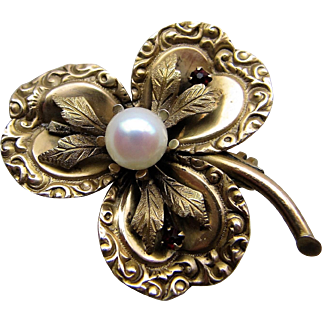 Victorian Three Leaf Clover Flower Brooch Pendent with Cultured Pearl.