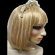 Silver Floral Swarovski Crystal & Freshwater Pearl Bridal Wedding Tiara. Headband