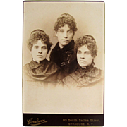 Cabinet Photograph- Triplet Sisters From Syracuse, N.Y.