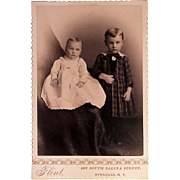 Cabinet Photograph- Adorable Baby Girl & Big Brother From Syracuse, N.Y.