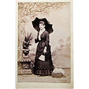 Cabinet Card Photograph Young Lady Beautiful Dress, Fan and Parasol. N.Y.