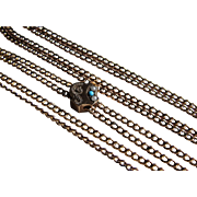 Antique Gold Filled Watch Chain- 10K Pearl and Turquoise Slide.