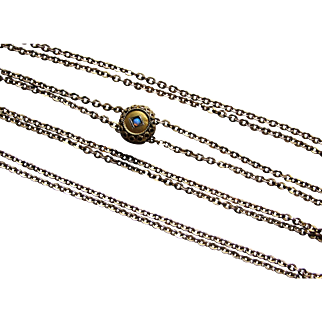 Antique Victorian Gold Filled Watch Chain with Opal Slide.