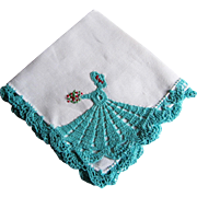 Vintage Crocheted and Embroidered Southern Belle Handkerchief.