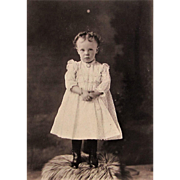 Cabinet Photograph- Sweet Little Girl in Victorian Frilly Lace Dress. ID