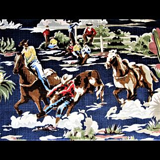 Bloomcraft Barkcloth Western Theme Cowboys Fabric-56'' Wide, 7-1/2 Yards.