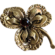 Victorian Three Leaf Clover Brooch Pendent with Ruby Glass Stones.