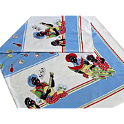 Mid-Century Design Black Americana Colorful Cotton Tablecloth.