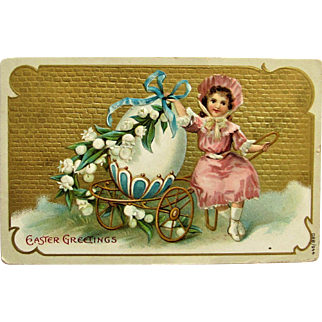 Embossed Easter Greeting Postcard- Faberge Inspired Easter Egg On a Golden Cart.1907