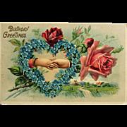 Romantic Embossed Birthday Greeting Postcard-Germany, 1914