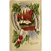 Heavily Embossed Airbrushed Christmas Postcard, Lucky Horseshoe. Germany.