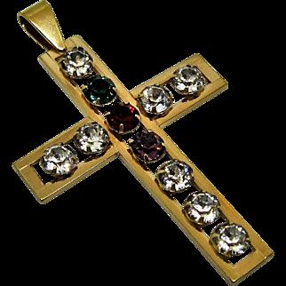12k Gold Filled Van Dell Pendant Cross With Rhinestones.