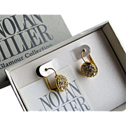 Nolan Miller Glamour Collection Crystal Lever-Back Earrings.