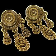 Florenza Victorian Revival Filigree Dangle Earrings, 1950.