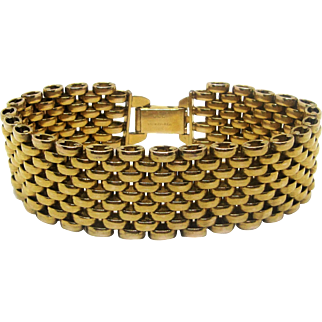 Designer HSB Harry S. Bick and Sons 1/20 12K GOLD FILLED Mesh Link Bracelet.