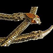 Whiting & Davis Gold Tone Flexible Mesh Snake Belt.