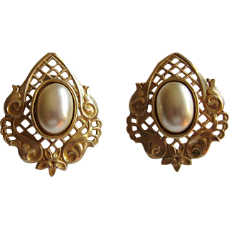 Miriam Haskell Signed Clip Back Pearl Earrings
