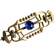 Victorian Gold Filled Bar Pin- Sapphire Rhinestone and Seed Pearls.