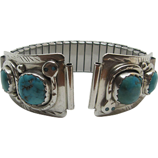 Effie C. Zuni Sterling Silver Turquoise Watch Tips.