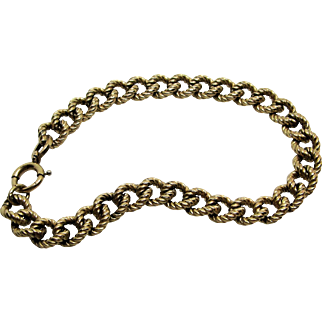 Gold Filled Curb Chain Starter Charm Bracelet- Hallmarked.