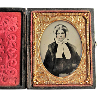 Ruby Glass Ambrotype of a Beautiful Lady in Leather Embossed Case- 9th Plate.