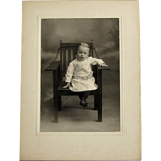 Cabinet Card Photograph- Small Boy Sits In Big Chair.