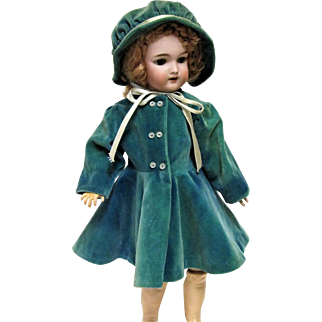 Antique Custom Made Velvet Coat and Hat For Bisque Head Doll.