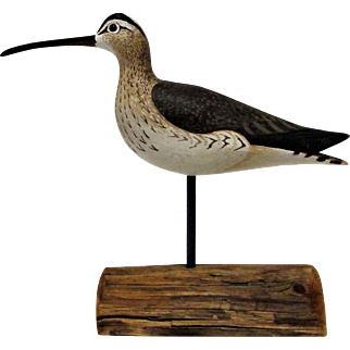 Signed Anthony Hillman Shore-Bird Decoy Carving- Whimbrel