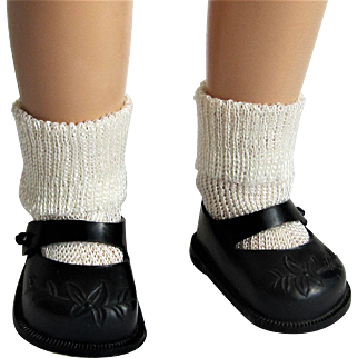 Original Ideal Toni Doll P-90 Black Embossed Shoes and Rayon Socks..