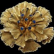 Danecraft Signed Gold Filled Sapphire Gemstone Flower Brooch