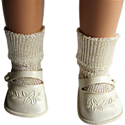 Original Ideal Toni Doll P-90 White Embossed Shoes and Rayon Socks..