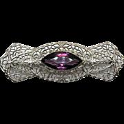 Art Deco 10K White Gold Filigree Amethyst Pin/Brooch - Red Tag Sale Item