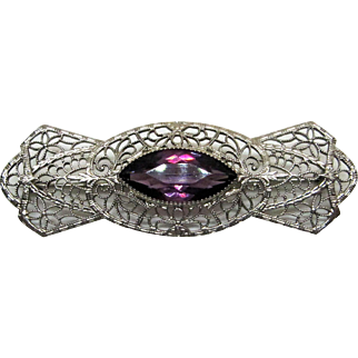 Art Deco 10K White Gold Filigree Amethyst Pin/Brooch