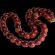 Art Deco Round Bakelite Cherry Amber Bead Necklace.