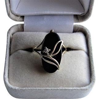 10K Yellow Gold Black Onyx Diamond Flower Ring. Plainville Stock Company.