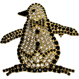 Dorothy Bauer Figural Black Onyx and Crystal Penguin Brooch.