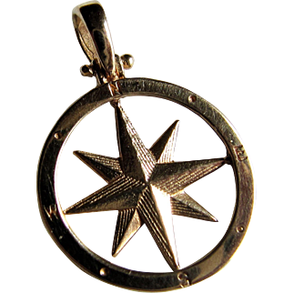 14K Yellow Gold Compass Rose Pendant.