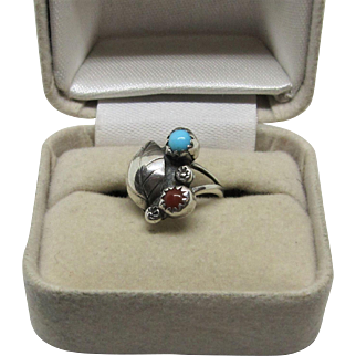 Native American Indian Navajo Sterling Silver Turquoise/Coral Baby Ring.