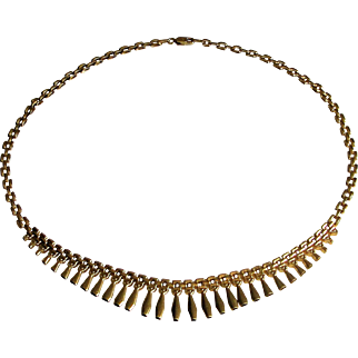 Stunning 14K Yellow Gold Graduating Cleopatra Style Necklace- Italy