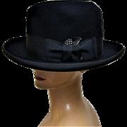 Flaisher's Royal Homburg Black Fur Felt Godfather Hat-Pristine.