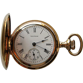 American Waltham Watch Co. 14K G. F Full Hunter Case Pocket Watch-1907