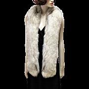 Fabulous Vintage Extra Long White Cross Fox Fur Stole Wrap